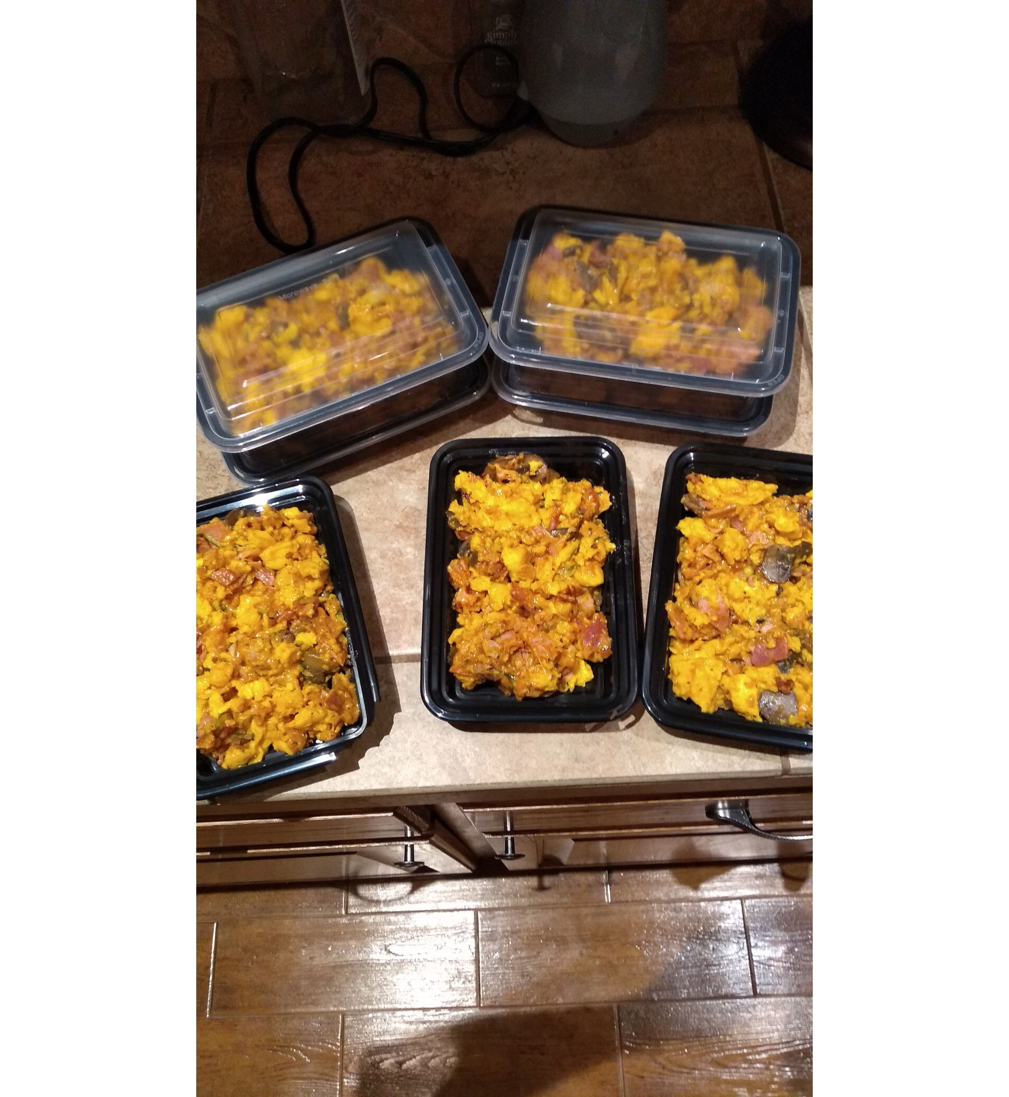 Scrambled Eggs with Spicy Smoked Sausage and Cheddar Cheese