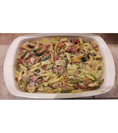 Chicken Penne with bacon in a tomato cream sauce
