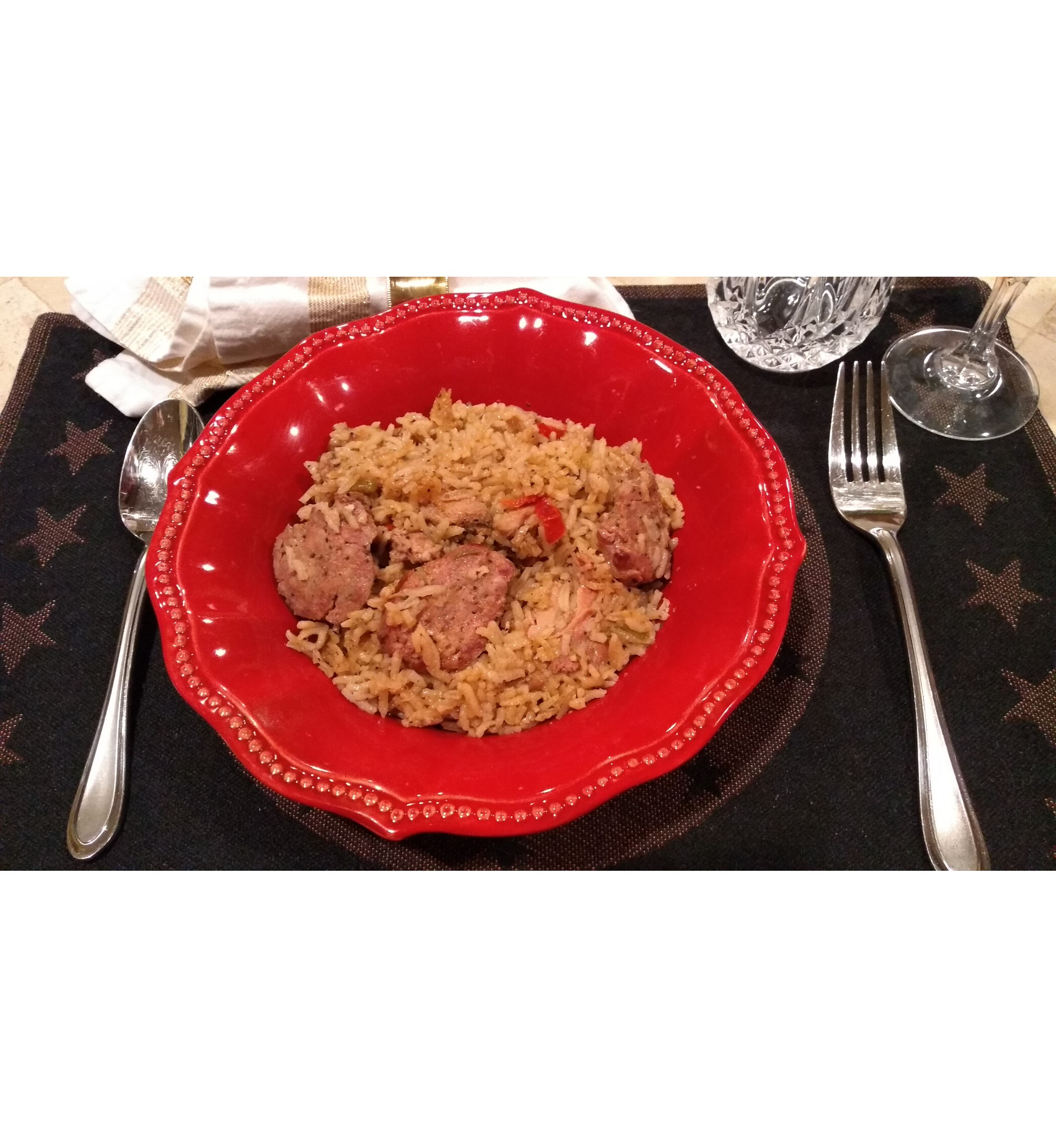 Jambalaya Chicken & Cajun Sausage combined with celery, peppers, onions,  and seasonings   - A Family's favorite