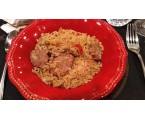 Jambalaya Chicken & Cajun Sausage combined with celery, peppers, onions, rice and seasonings   - A Family's favorite
